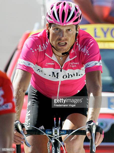 Jan Ullrich of Germany and TMobile rides at the finish of Stage 18 of the 92nd Tour de France between Albi and Mende July 21 2005 in Mende France