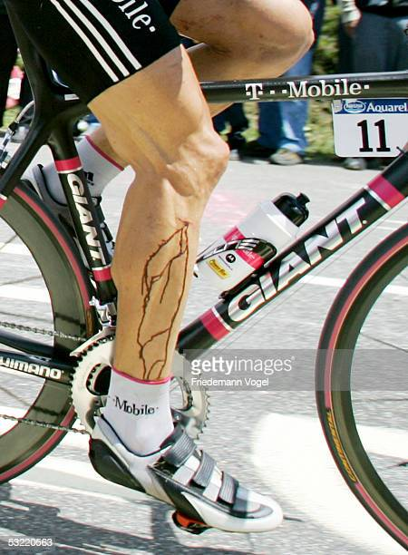 Jan Ullrich of Germany and TMobile rides with a cut leg during the stage 9 of the 92nd Tour de France between Gerardmer and Mulhouse on July 10 2005...