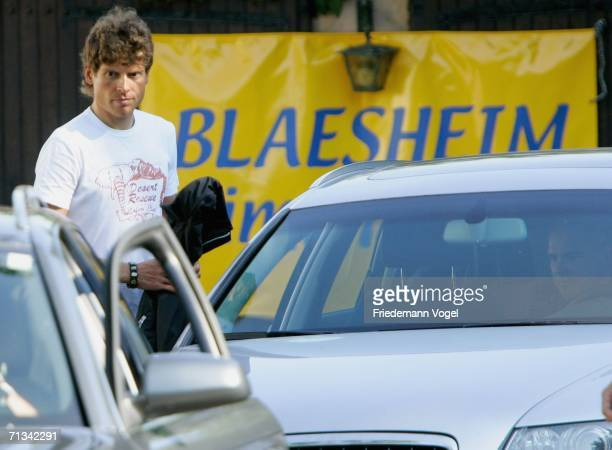 Jan Ullrich of Germany from the TMobile Team leaves the Team Hotel Au Beuf on June 30 2006 in Blaesheim near Strasbourg France Jan Ullrich of Germany...