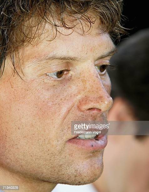 Jan Ullrich of Germany from the TMobile Team talks to the media after he was suspended by TMobile prior to the Tour de France on June 30 2006 in...