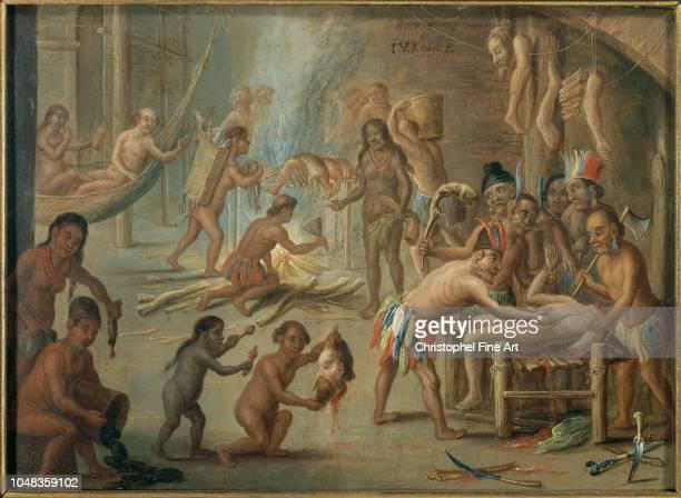 Jan Van Kessel Le Vieux Scene of cannibalism in 1644 in Brazil New World Museum of La Rochelle