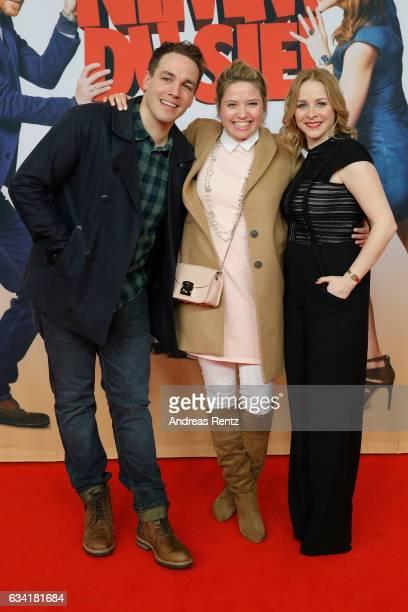 Jan van Weyde Caroline Frier and Jasmin Schwiers attend 'Schatz Nimm Du sie' German movie premiere at Cineplex Cologne on February 7 2017 in Cologne...