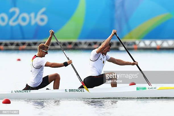 Jan Vandrey and Sebastian Brendel of Germany compete on their way to winning the gold medal in the Men's Canoe Double 1000m Finals on Day 15 of the...