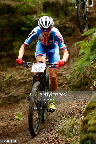 Jan Vastl of Czech Republic rides during the Men's Mountain Bike CrossCountry on Day Six of the European Championships Glasgow 2018 at Cathkin Braes...