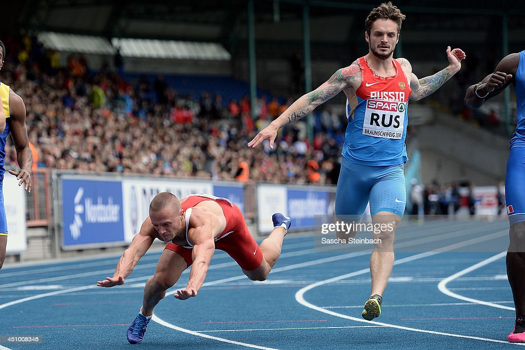 Jan Veleba of Czech Republic and Mikhail Idrisov of Russia compete in the Men's 100m during first day of the European Athletics Team Championship at Eintracht Stadion on June 21, 2014 in Braunschweig, Germany.