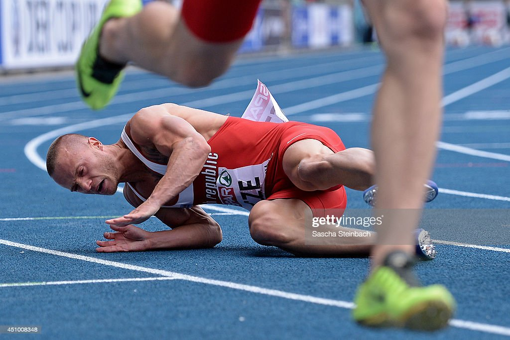 Jan Veleba of Czech Republic falls in the Men's 100m during first day of the European Athletics Team Championship at Eintracht Stadion on June 21, 2014 in Braunschweig, Germany.