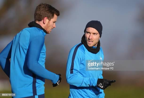 Jan Vertonghen and Christian Eriksen of Tottenham Hotspur during the Tottenham Hotspur training session at Tottenham Hotspur Training Centre on...