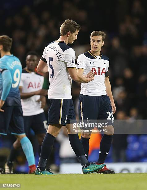 Jan Vertonghen and Harry winks after the final whistle during the Premier League match between Tottenham Hotspur and Swansea City at White Hart Lane...