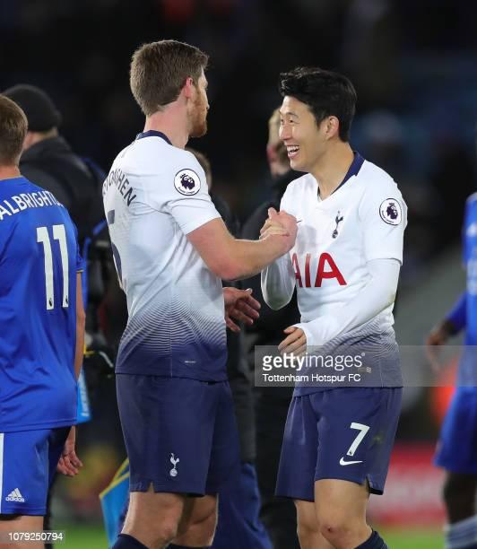 Jan Vertonghen and HeungMin Son of Tottenham Hotspur after the Premier League match between Leicester City and Tottenham Hotspur at The King Power...