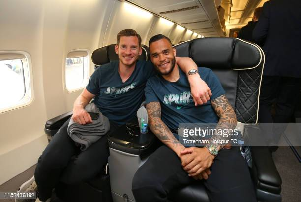Jan Vertonghen and Michel Vorm pose as the Tottenham Hotspur team depart for the Champions League Final in Madrid at Stansted Airport on May 29 2019...