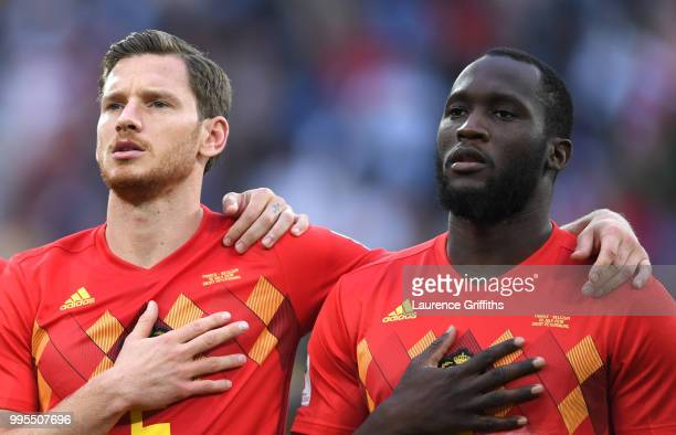 Jan Vertonghen and Romelu Lukaku of Belgium sing the national anthem prior to the 2018 FIFA World Cup Russia Semi Final match between Belgium and...