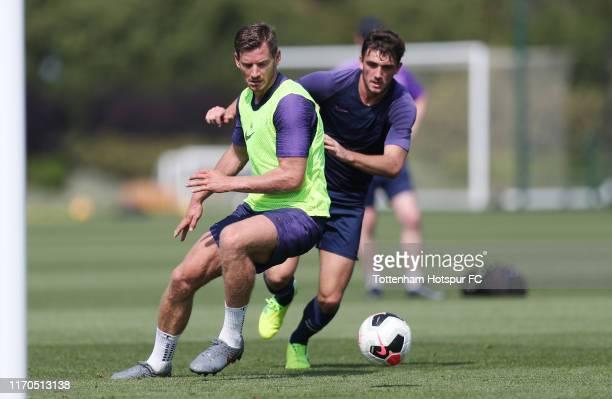 Jan Vertonghen and Troy Parrott of Tottenham Hotspur during the Tottenham Hotspur training session at Tottenham Hotspur Training Centre on August 27...