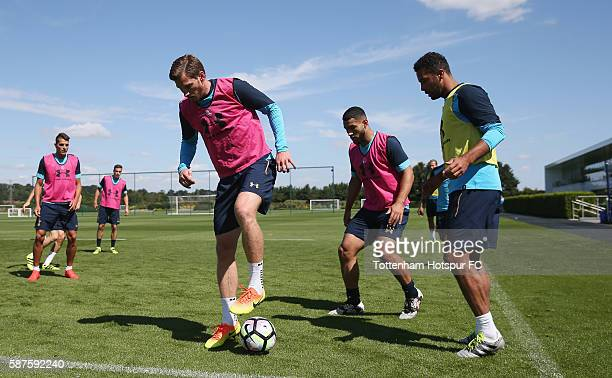 Jan Vertonghen Cameron CarterVickers and Mousa Dembele of Tottenham during the Tottenham Hotspur training session on August 9 2016 in Enfield England