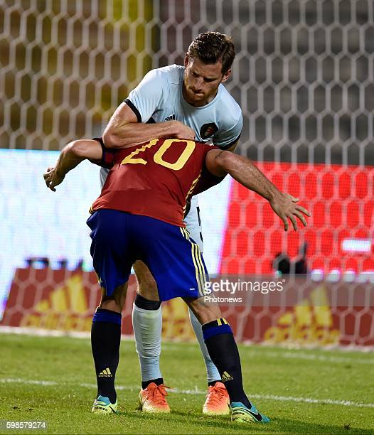 Jan Vertonghen defender of Belgium and Daniel Carvajal defender of Spain during a FIFA international friendly match between Belgium and Spain at the...