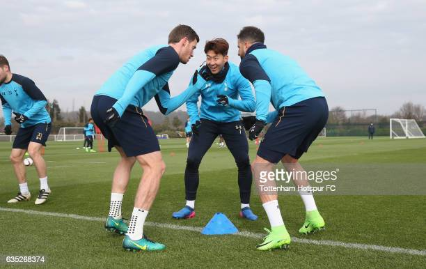 Jan Vertonghen Heungmin Son and Kyle Walker of Tottenham during the Tottenham Hotspur training session at Tottenham Hotspur Training Centre on...
