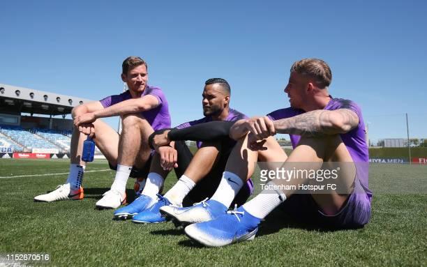 Jan Vertonghen Michel Vorm and Toby Alderweireld of Tottenham Hotspur during the Tottenham Hotspur training session at Real Madrid Training Complex...