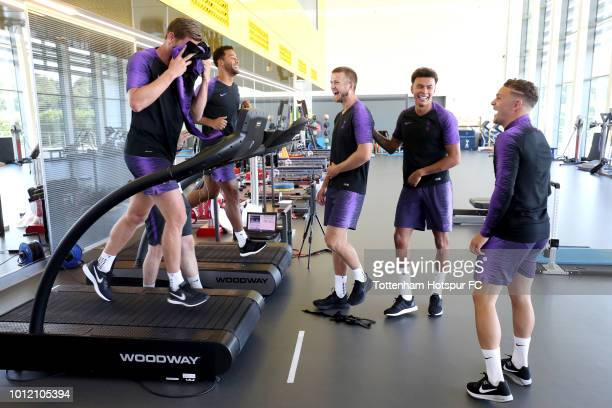 Jan Vertonghen Mousa Dembele Eric Dier Dele Alli and Kieran Trippier of Tottenham at Tottenham Hotspur Training Centre on August 6 2018 in Enfield...