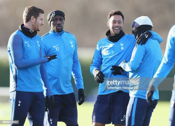 Jan Vertonghen Moussa Sissoko Mousa Dembele and HeungMin Son of Tottenham Hotspur during the Tottenham Hotspur training session at Tottenham Hotspur...