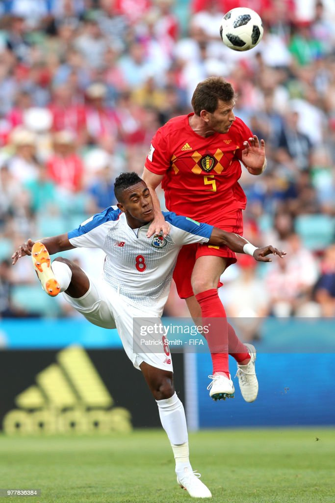 Jan Vertonghen of Belgium and Edgar Barcenas of Panama battle for the header during the 2018 FIFA World Cup Russia group G match between Belgium and Panama at Fisht Stadium on June 18, 2018 in Sochi, Russia.