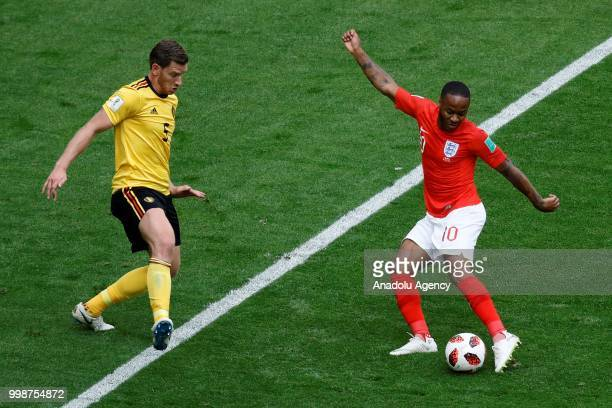 Jan Vertonghen of Belgium and Raheem Sterling of England vie for the ball during the 2018 FIFA World Cup 3rd place match between Belgium and England...