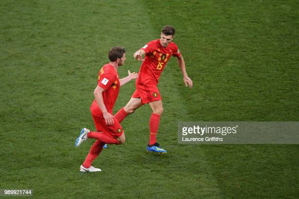 Jan Vertonghen of Belgium celebrates after scoring his team's first goal with team mate Thomas Meunier during the 2018 FIFA World Cup Russia Round of...
