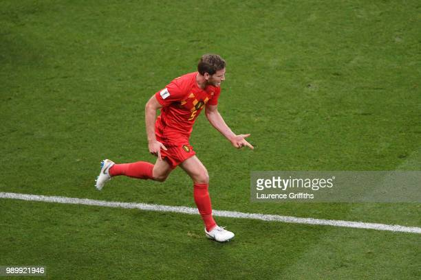 Jan Vertonghen of Belgium celebrates after scoring his team's first goaduring the 2018 FIFA World Cup Russia Round of 16 match between Belgium and...