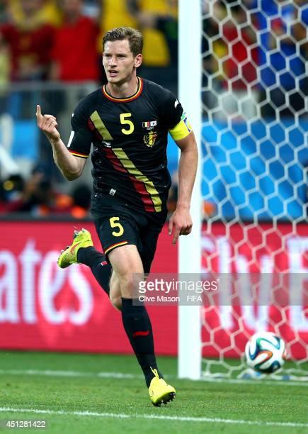 Jan Vertonghen of Belgium celebrates scoring his team's first goal during the 2014 FIFA World Cup Brazil Group H match between Korea Republic and...