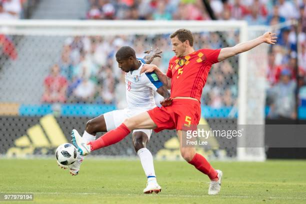 Jan Vertonghen of Belgium challenges Armando Cooper of Panama during the 2018 FIFA World Cup Russia group G match between Belgium and Panama at Fisht...