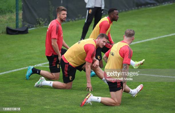 """Jan Vertonghen of Belgium during a training session of the Belgian national soccer team """" The Red Devils """" ahead of the upcoming FIFA World Cup Qatar..."""