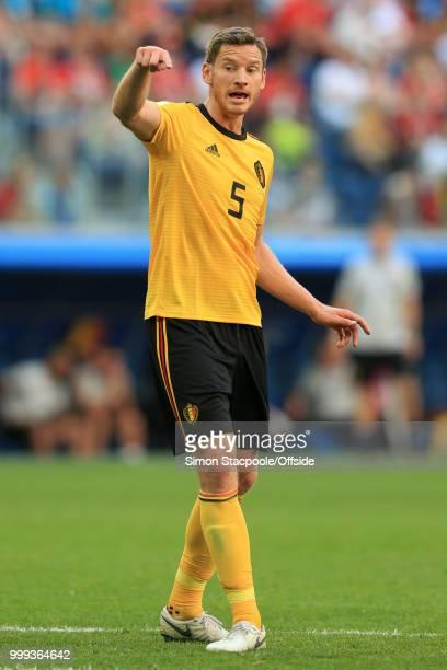 Jan Vertonghen of Belgium gestures during the 2018 FIFA World Cup Russia 3rd Place Playoff match between Belgium and England at Saint Petersburg...