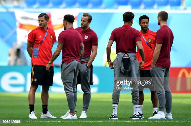 Jan Vertonghen of Belgium Harry Kane and Kyle Walker of England speak during a pitch inspection prior to the 2018 FIFA World Cup Russia 3rd Place...