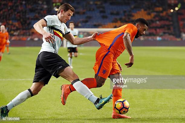 Jan Vertonghen of Belgium Jeremain Lens of Hollandduring the friendly match between Netherlands and Belgium at the Amsterdam Arena on November 09...