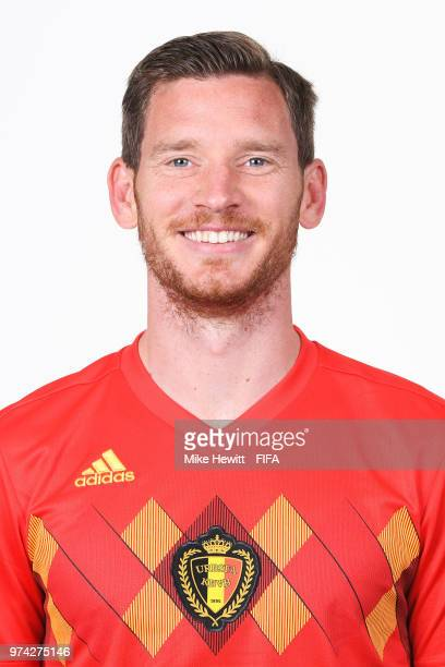 Jan Vertonghen of Belgium poses for a portrait during the official FIFA World Cup 2018 portrait session at the Moscow Country Club on June 14 2018 in...