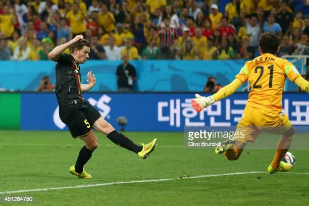 Jan Vertonghen of Belgium scores his team's first goal during the 2014 FIFA World Cup Brazil Group H match between South Korea and Belgium at Arena...