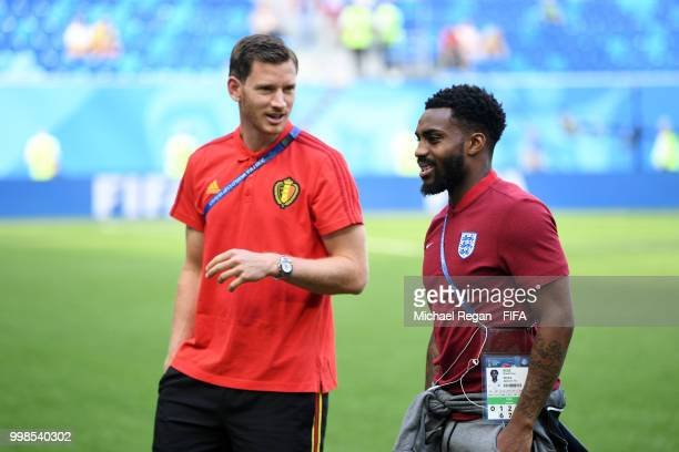 Jan Vertonghen of Belgium speaks with Danny Rose of England during a pitch inspection prior to the 2018 FIFA World Cup Russia 3rd Place Playoff match...