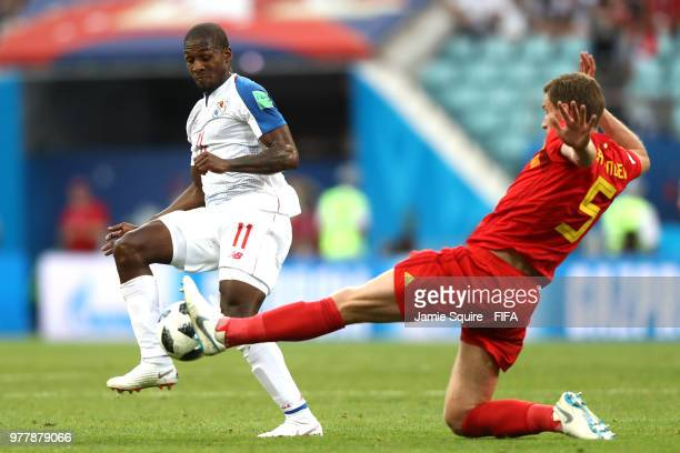 Jan Vertonghen of Belgium tackles Armando Cooper of Panama during the 2018 FIFA World Cup Russia group G match between Belgium and Panama at Fisht...