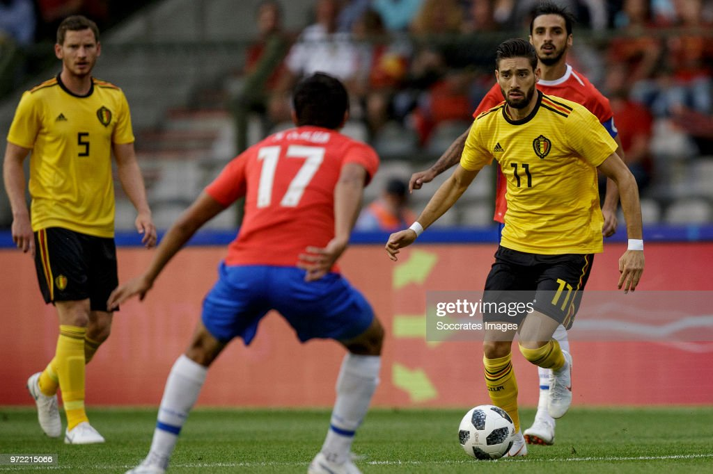 Jan Vertonghen of Belgium , Yeltsin Tejeda of Costa Rica , Yannick Carrasco of Belgium during the International Friendly match between Belgium v Costa Rica at the Koning Boudewijnstadion on June 11, 2018 in Brussel Belgium