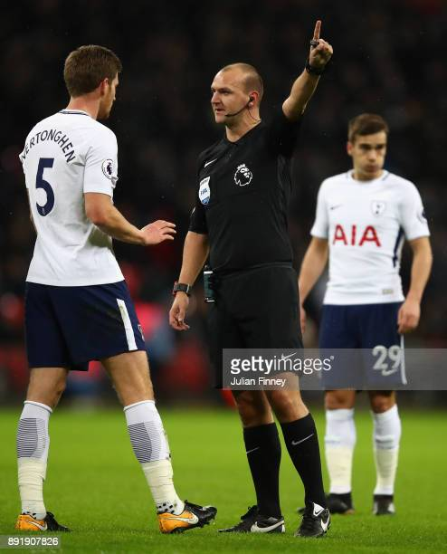 Jan Vertonghen of Spurs argues with referee Robert Madley during the Premier League match between Tottenham Hotspur and Brighton and Hove Albion at...