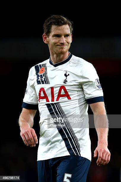 Jan Vertonghen of Spurs during the Barclays Premier League match between Arsenal and Tottenham Hotspur at the Emirates Stadium on November 8 2015 in...
