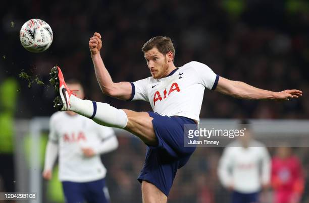 Jan Vertonghen of Spurs in action during the FA Cup Fourth Round Replay match between Tottenham Hotspur and Brentford at Tottenham Hotspur Stadium on...