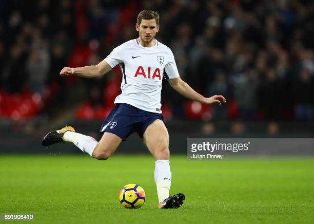 Jan Vertonghen of Spurs in action during the Premier League match between Tottenham Hotspur and Brighton and Hove Albion at Wembley Stadium on...