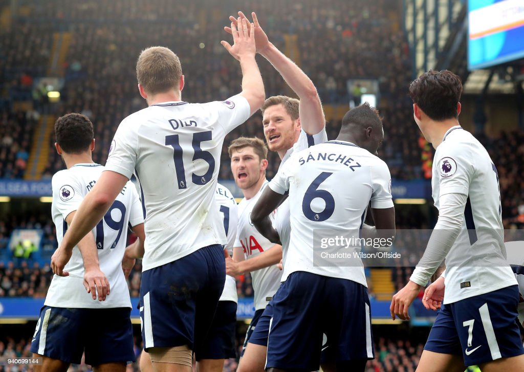 Jan Vertonghen of Tottenham and Eric Dier of Tottenham celebrate their 2nd goal with a hi-five during the Premier League match between Chelsea and Tottenham Hotspur at Stamford Bridge on April 1, 2018 in London, England.