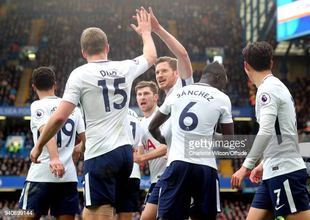 Jan Vertonghen of Tottenham and Eric Dier of Tottenham celebrate their 2nd goal with a hifive during the Premier League match between Chelsea and...