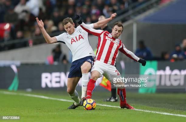 Jan Vertonghen of Tottenham and Xherdan Shaqiri of Stoke during the Premier League match between Tottenham Hotspur and Stoke City at Wembley Stadium...