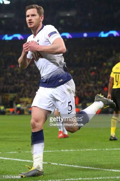 Jan Vertonghen of Tottenham celebrates scoring their 2nd goal during the UEFA Champions League Round of 16 First Leg match between Tottenham Hotspur...