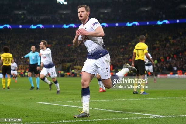 Jan Vertonghen of Tottenham celebrates scoring their 2nd goal during the UEFA Champions League Round of 16 First Leg match between Tottenham Hotspur...