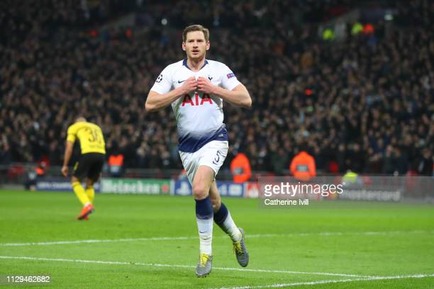 Jan Vertonghen of Tottenham celebrates scoring to make it 20 during the UEFA Champions League Round of 16 First Leg match between Tottenham Hotspur...