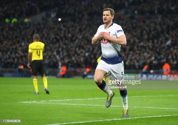 Jan Vertonghen of Tottenham celebrates scoring to make it 2-0 during the UEFA Champions League Round of 16 First Leg match between Tottenham Hotspur...