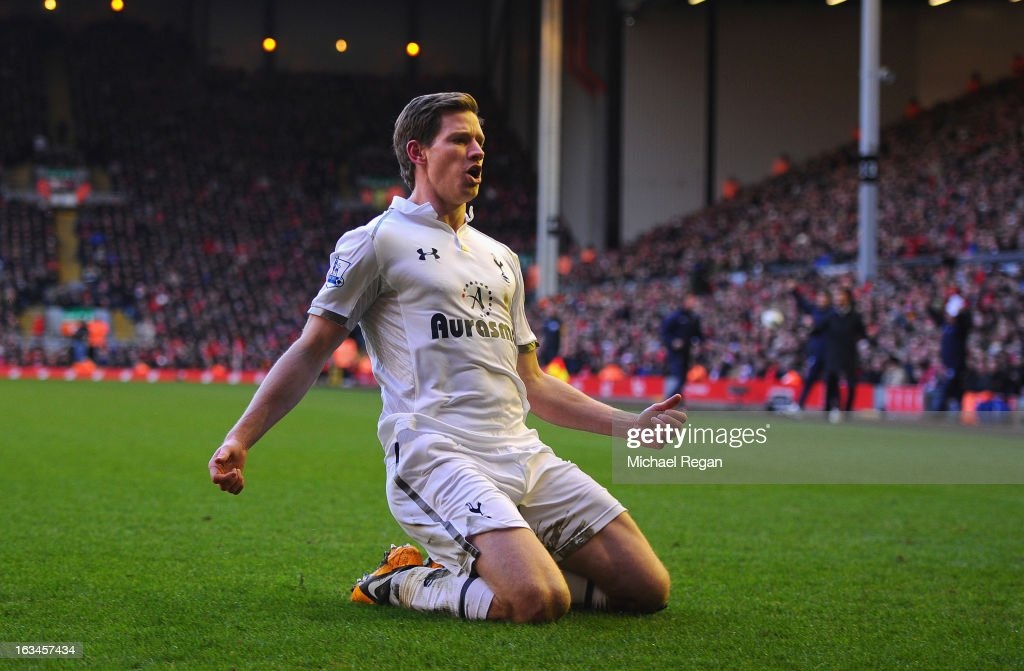 Jan Vertonghen of Tottenham celebrates scoring to make it 2-1 during the Barclays Premier League match between Liverpool and Tottenham Hotspurs at Anfield on March 10, 2013 in Liverpool, England.