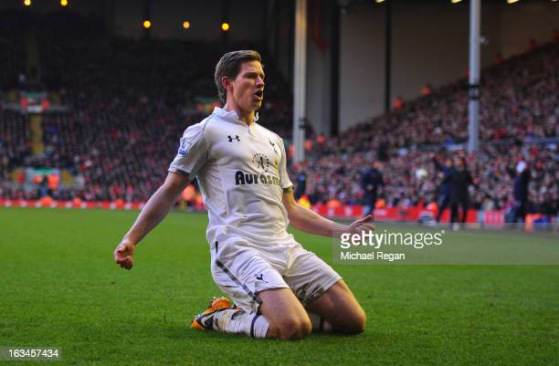 Jan Vertonghen of Tottenham celebrates scoring to make it 21 during the Barclays Premier League match between Liverpool and Tottenham Hotspurs at...